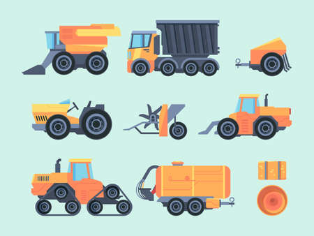 Agricultural mechanisms and machines set. Farm tractor specialized mower mechanical seeder automatic yellow thresher on trailer truck transporting grain combine harvesting crops. Vector flat.