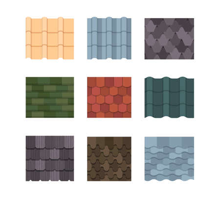 Tile roof color set. Oval rectangular plates green orange ceramic decoration striped wavy texture embossed roof covering with architectural overlap protective coating terracotta. Waterproof vector.