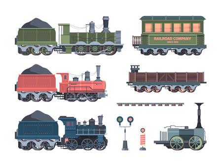 Old steam locomotives set. Comfortable green cars semaphores retro powered trains coal trailers classic rail travel with smoke artistic color designs convenient transportation. Art vector. Ilustración de vector