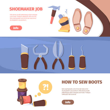 Shoemakers craft horizontal banner. Professional tools for shoe repair and sewing trendy leather suede colors with masterful design handmade custom orders brand models. Cartoon vector template.
