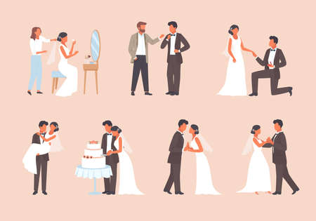 People get married set. Man in tuxedo and woman white dress cutting wedding cake romantic pair dance hall bride dresses up in front of mirror elegant ceremonial kiss. Engagement vector.