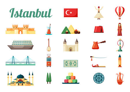 Istanbul turkey culture set. Medieval fortress national flag with crescent moon star ancient big mosque dancing dervish oriental sweets variety of spicy spices red hookah. Cartoon vector.