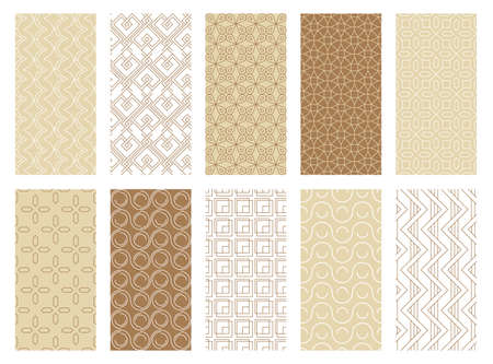 Abstract geometric seamless patterns set. Swirl ring textile ornaments creative decorative tracery with lines and squares graphic repeats modern retro artificial decoration design. Vector clipart. Ilustracja