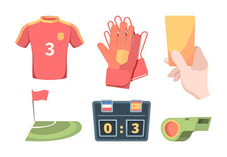 Soccer equipment set. Red shirt of football club player goalkeeper gloves hand holds yellow card electronic scoreboard green referees whistle and flag corner zone. Vector sports game.  イラスト・ベクター素材