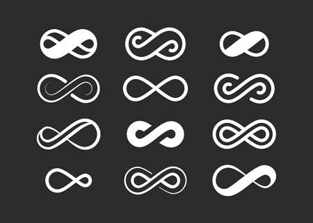 Infinity symbol set. Infinite space sign loop design geometric curved closed loop creative physical illusion with semicircular design gap and future in one coiled element. Vector stylish art.
