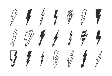 Lightning strike set. Flashes powerful in dark thunderstorm with dangerous thunderbolt charges graphic high voltage warning risk life stylish electronic  zigzag signs. Vector silhouette.