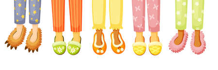 Legs in slippers illustration. Comfortable stylish shoes cozy home with colorful design creative shape fluffy kids in form of animals elegant adults indispensable in household hotel. Vector cartoon.