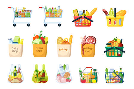 Grocery baskets and shopping bags set. Plastic and metal containers full of vegetables and fruits with cold cuts and dairy products wheels ripe yellow bananas smoked salami bread. Cartoon vector.