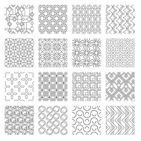 Geometric abstract monochrome seamless patterns set. Textile ornaments rosette curvatures with undulating overlap swirl creative decorative tracery with lines and squares graphic . Vector clipart.
