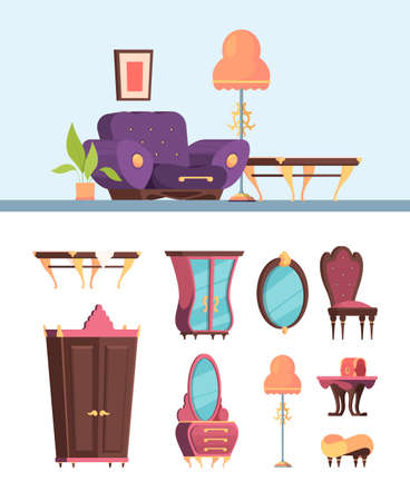 Antique furniture set. Retro interior living room archaic wide purple armchair vintage chest drawers oval mirror soft chair in old style decorative tea table with red chest. Vector trendy cartoon.