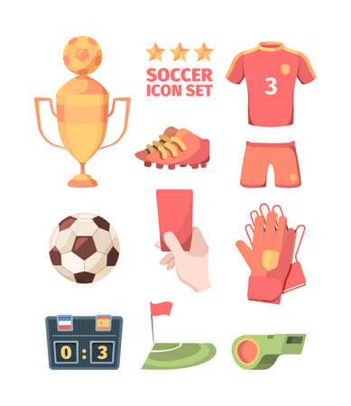 Soccer set. Winners gold cup with ball hand holds red card shirt shorts of football club player goalkeeper gloves electronic scoreboard green referees whistle and flag corner zone. Vector sports.