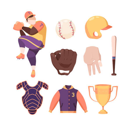 Baseball equipment set. Protective striped bib and gold winners cup character in special sports uniform prepares throw protective yellow helmet baseball bat ball pitcher gloves. Vector championship.