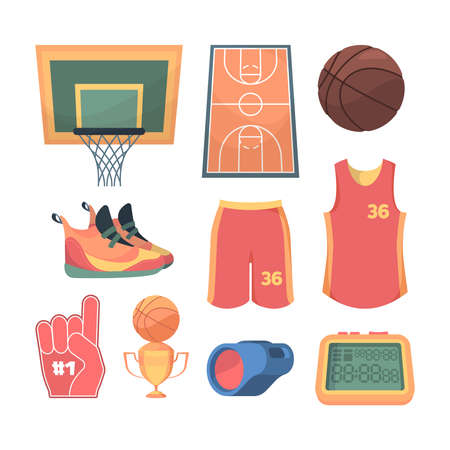 Necessary basketball things set. Lined sports court team red jersey and shorts orange sneakers basketball basket and brown ball electronic scoreboard and referees whistle. Competitive vector.