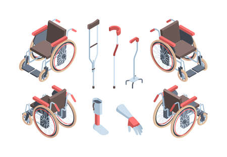 Wheelchairs rehabilitation means isometric. Modern crutches for locomotion artificial limb simulators medical special equipment people with disabilities comfortable orthopedic seats . Vector support.