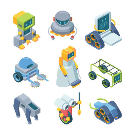 Toy robots helpers isometric set.. Miniature paintwork on wheels futuristic devices with artificial intelligence cleaning house and garden android communication support automatic loader. Art vector. Ilustracja