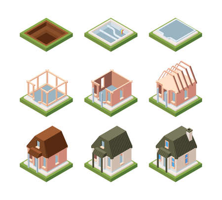 Stages of building house isometric. Excavation foundation and laying communications formation of building frame and mounting roof setting windows and doors with painting. Vector process.