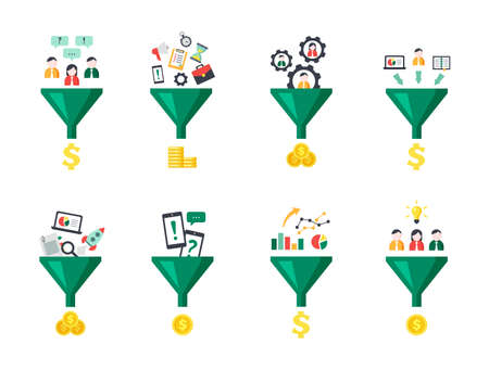 Sales funnel set. Optimization marketing system converting human labor and time into financial investments profit strategy and generation analytics business awareness. Vector clipart.