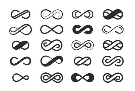 Infinity symbol large set. Space infinite eights sign loop design geometric curved closed loop physical illusion with semicircular design gap and future in one coiled element. Vector silhouette art.