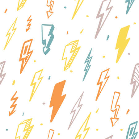 Lightning seamless pattern. Orange flashes powerful in green thunderstorm with dangerous yellow thunderbolt charges graphic high voltage warning risk electronic zigzag signs. Vector pattern. Ilustracja