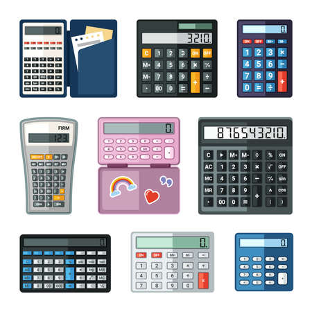 Realistic calculators set. Educational math with notes in case shopping large buttons easy calculations stylish pink for teenage girls with stickers professional many functions. Electronic vector.