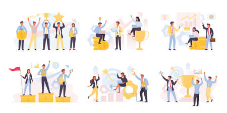 Business team winning and achieving set. Financial successful people is leaders exchange analytics marketing competitions profitable corporate startup with rating and golden cup best. Vector victory.
