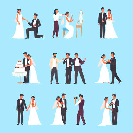 Wedding ceremony set. Groom and bride holding glasses man in tuxedo woman white dress cutting wedding cake romantic pair dance hall bride dresses up in front mirror elegant kiss. Celebration vector.  イラスト・ベクター素材
