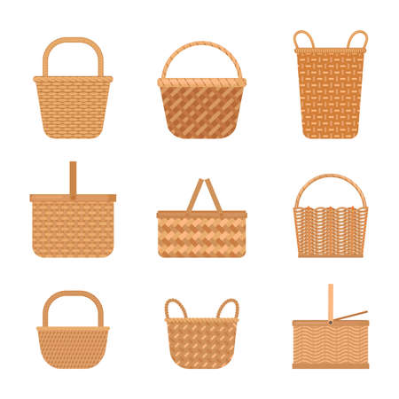 Wicker baskets set. Yellow knapsacks in decorative tracery traditional straw products rustic retro designs ethnic texture with creative nature plan ornament holidays and work. Cartoon art vector.