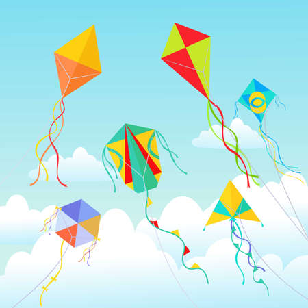 Kites soaring in clouds illustration. Beautiful geometric devices made of paper and cardboard swirling in air green tracery with red squares blue rhombuses colored stripes bows. Vector cartoon art. Ilustración de vector