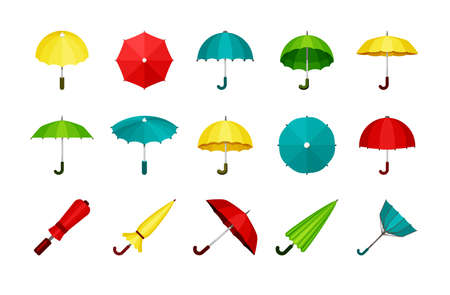 Umbrellas set. Folded and unfolded modern automatic and retro convenient green protection rain and sun yellow meteorological instrument from bad weather domed and flat structure. Vector collection.