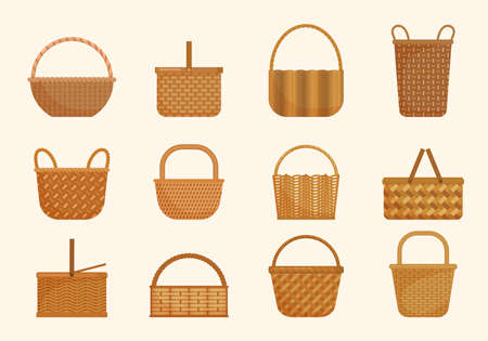 Ethnic wicker baskets set. Large volumes and small basket for berries yellow knapsacks in decorative tracery traditional straw products rustic retro designs ethnic texture. Cartoon vector.