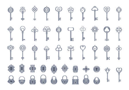 Vintage keys with locks set. Openwork exclusives to close secrets vintage for safes doors classic medieval style for opening treasure chests ornaments reliable security. Vector decoration.