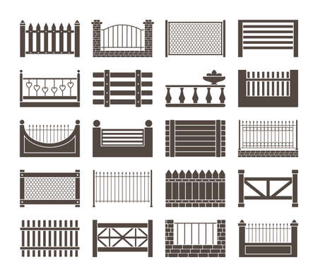 Fence and barriers sections set. Simple monochrome rustic roughly knitted together from boards wooden openwork casting with hearts farmhouse brick with iron mesh antique carved. Vector cartoon.