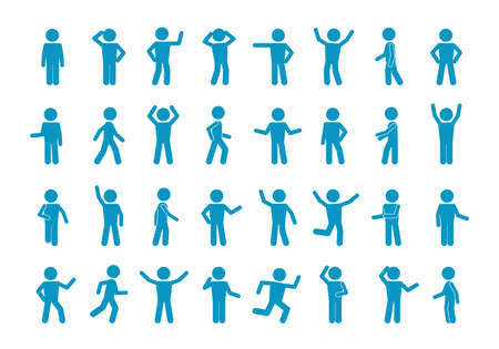 Movement stick man set. Symbol reflection and joyful blue greeting simple poses and active actions abstract people running and slow walking pose of amazement despair with hands. Vector expression.