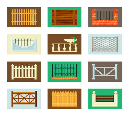 Fences and barriers set. Wooden farmhouse brick with iron mesh antique carved columns and flowerpot with plant decorative cast forged arrows and circles retro stone carvings. Vector design.