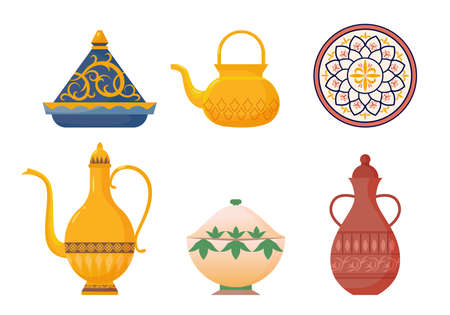 Arabic oriental dishes set. Antique yellow teapots with ornate muslim designs red water jug with ornate dish white moroccan porcelain pot turkish soup tureen for hot meals. Ethnic cartoon vector.