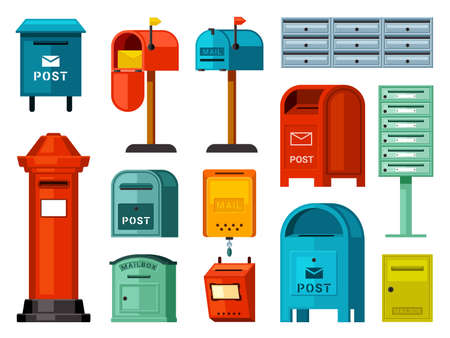 Retro and modern mailboxes set. Blue street boxes with legs red container for paper correspondence green for receiving and sending letters numerous metal closed sections individual. Cartoon vector.