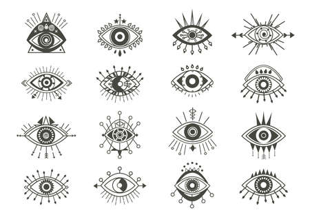 Mystical eyes symbols set. Esoteric signs with sacred vision circle and arrows occult look amulets with geometric figures of religious secrets of astral worlds and universes. Vector vision. Ilustracja