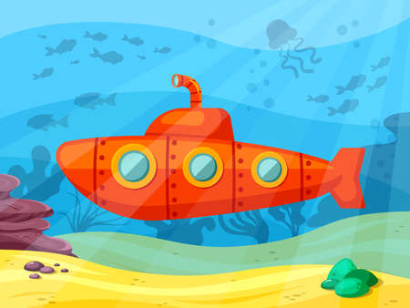 Submarine explores ocean depths illustration. Red bathyscaphe with extended periscope sails in coral reef and studies marine fauna scientific underwater discoveries and travels. Vector cartoon depth.