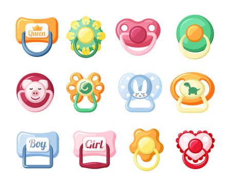 Baby pacifiers set. Red with head of cute pig and blue with inscription boy and girl yellow in comforter form chamomile orange with cheerful silicone dinosaur. Cartoon vector calmness. 矢量图像