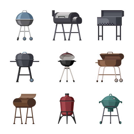 Portable grills set. Metal cooking equipment for frying meat and vegetables round square geometric barbeque shapes propane and charcoal picnic outdoor family fun. Vector cartoon chef.