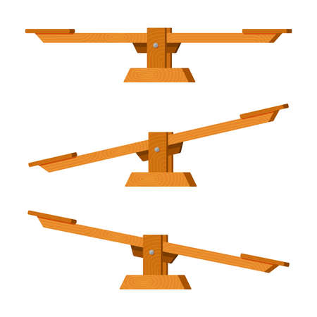 Childrens seesaw balancer. Outdoor recreational wooden amusement kindergarten park retro swing and bouncing fun game for two happy park and playground recreation fun. Active vector. 矢量图像