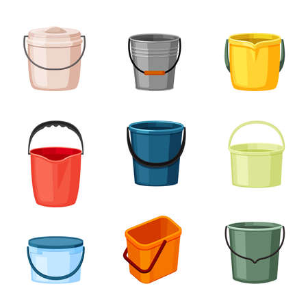 Plastic and metal buckets set. Red container for transferring liquids necessary green aluminum help household handy tools repairing and garden irrigation with sturdy handles. Cartoon vector.