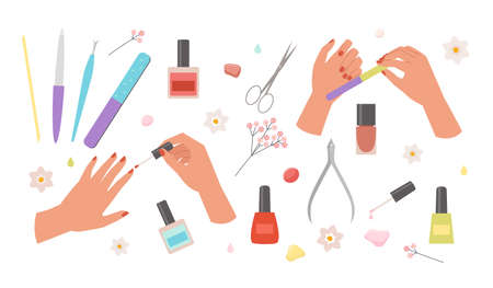 Manicure set. Red nail polish finger nail file and scissors glamorous cosmetics art with tweezers and colored bottles of coloring liquid beautiful hand skin care and polishing. Vector trendy style.