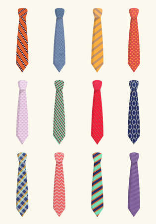 Ties for all occasions set. Trendy orange striped textiles with red checkers pink wavy with blue mesh and solid purple festive work piece clothing with elegant design. Vector cartoon style.