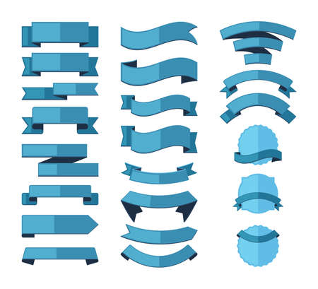 Geometric ribbon stripes banners set. Blue templates for advertising and marketing promotion curved linear promo decorations for fashion discounts and offer forms. Vector graphic element.