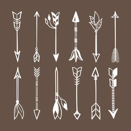 Various arrows for bow set. White weapons Indian tribes tribal natives ritual and combat arrows with tied amulets shamanic talismans hand made with magnificent plumage sharp tip. Vector hunting.