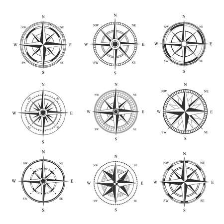 Wind rose set. Monochrome cartography symbol with orientation parts of world nautical vintage star for mariners latitude and longitude navigation measurement equipment. Vector topography. 矢量图像