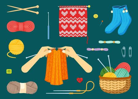 Knitting set. Textile handicrafts with red and yellow skeins woolen threads knitting needles warm blue socks with decorative beginning of sweater natural knitted jersey. Cartoon vector cotton. 矢量图像