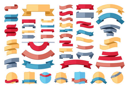 Ribbon stripes template set. Red banner for advertising and yellow marketing promotion curved linear promo blue decorations for fashion gray discounts and offer forms. Vector clearance.