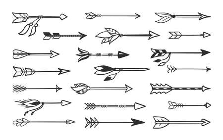 Hand made arrows for bow set. Contour black weapons indian tribes tribal natives ritual and combat arrows with tied amulets shamanic talismans with magnificent plumage sharp tip. Vector sketch.